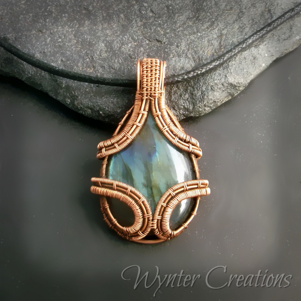Gemstone and copper wire wrap necklace