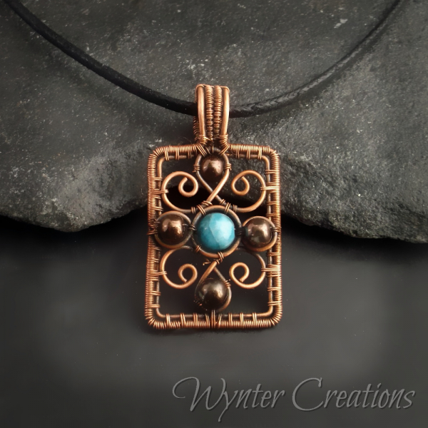 Blue and Copper Romantic Wire Wrap Pendant