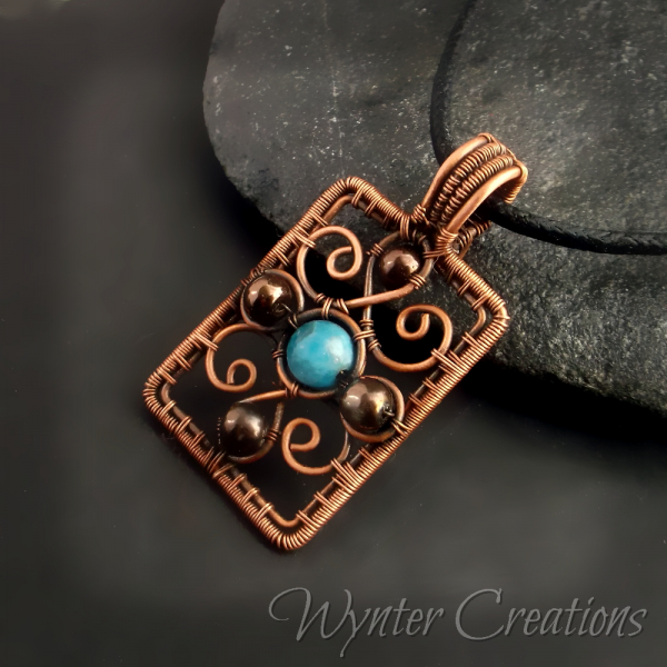 Copper FIligree and Apatite Pendant