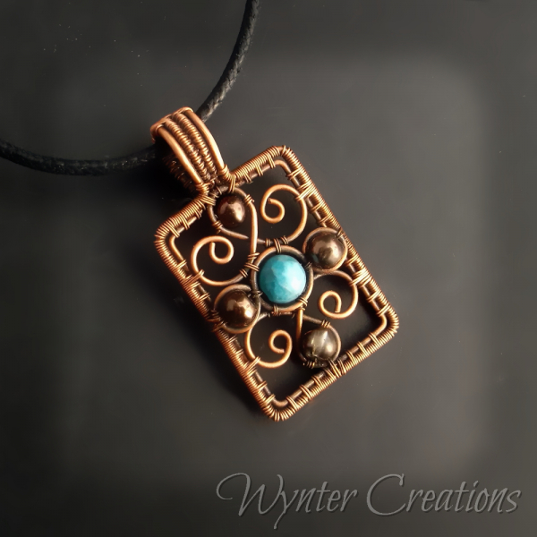 Woven Copper Filigree Pendant with Apatite Gemstone
