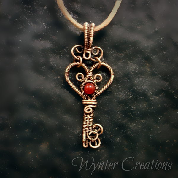 Heart Key Pendant with copper and jade