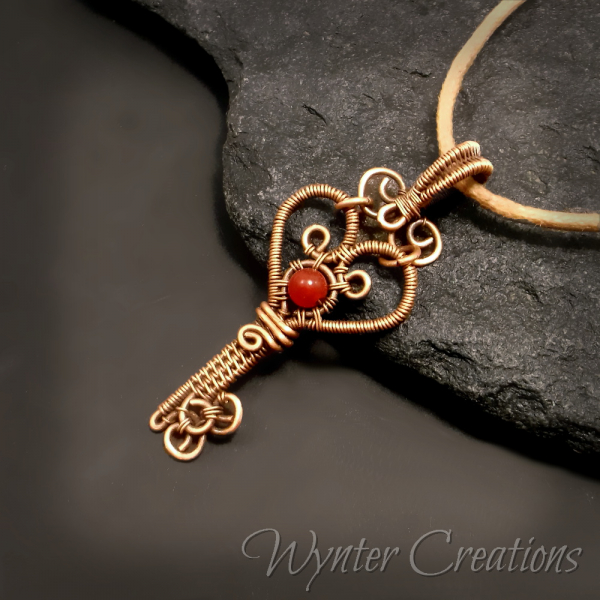 Wire wrap key pendant