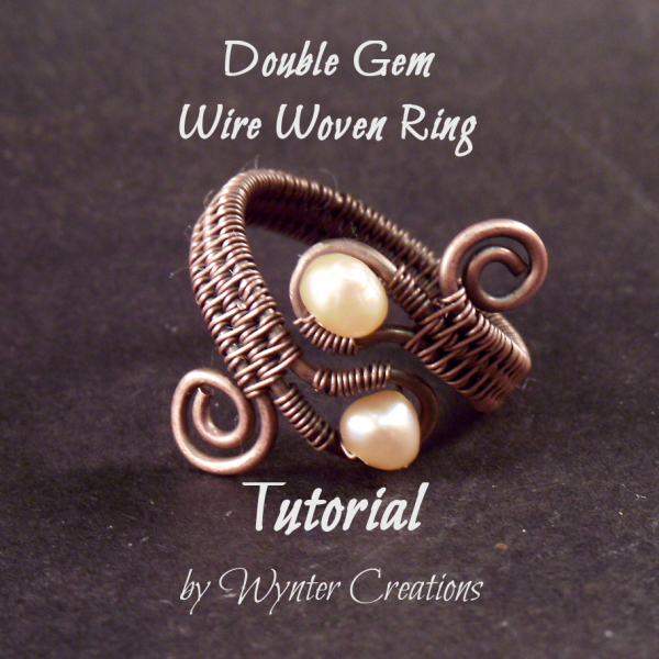 Double Gem Woven Wire Ring