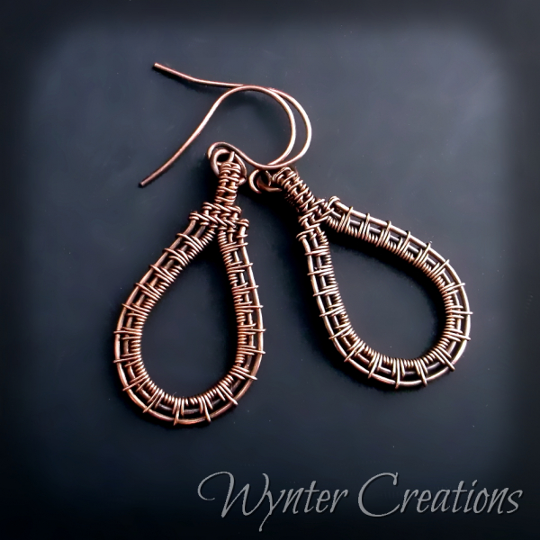 Copper wire work drop earrings