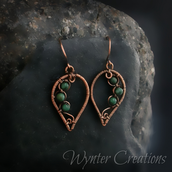 copper nature-themed leaf earrings