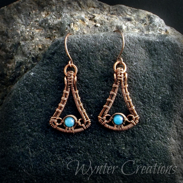 copper earrings with blue gemstone