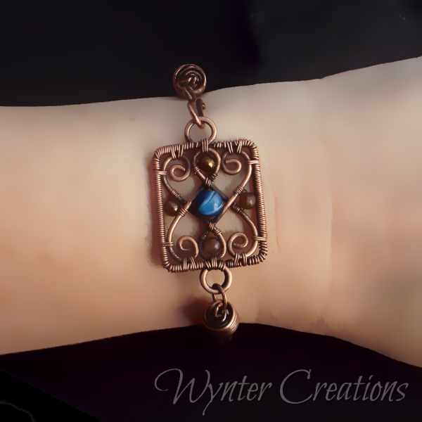 Ornate filigree viking knit bracelet