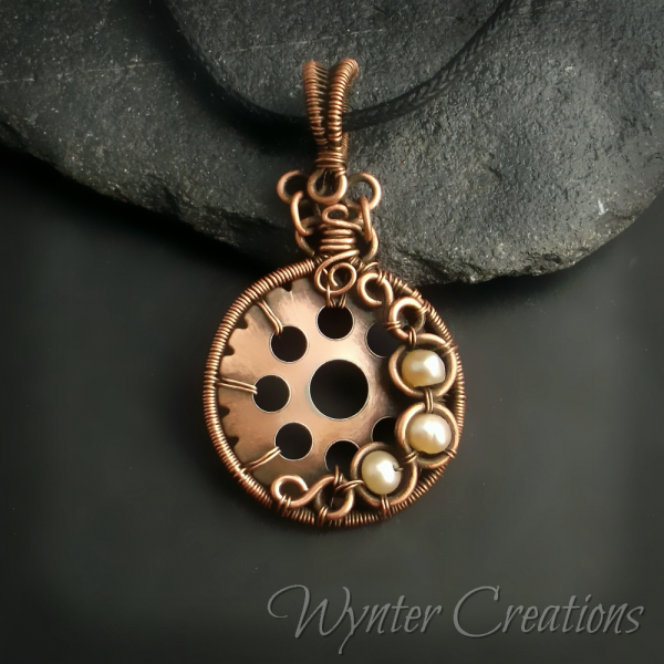 copper and pearl steampunk pendant