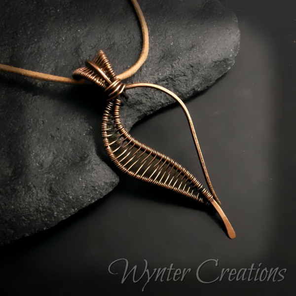 Autumn copper wire work pendant necklace