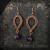 Wire wrap earrings with copper and amethyst