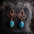 copper filigree earrings with gemstone