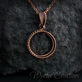 copper wirewrap pendant sun moon