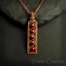 Maroon Pearl and Copper Pendant
