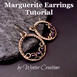 Marguerite earrings tutorial, wire wrapped hoop earrings