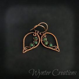 jade and copper wirewrap earrings