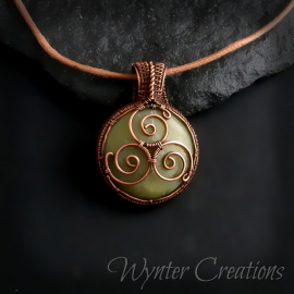 Celtic Triskele Pendant in Copper and Green Calcite