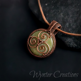Celtic Triskelion Pendant in Copper and Green Calcite
