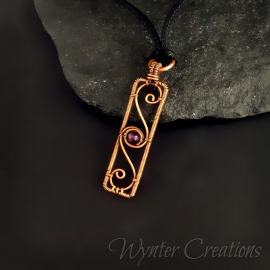 Amethyst copper filigree pendant