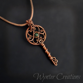 Victorian inspired copper key pendant