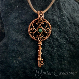 Antique look wire wrap key pendant necklace