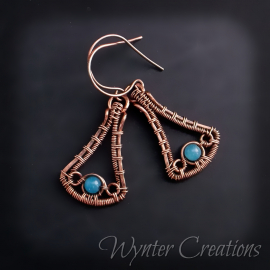 copper wire woven earrings with blue jade