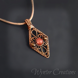 Copper filigree wire wrap pendant