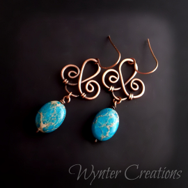 Copper and blue-green sea sediment jasper earrings