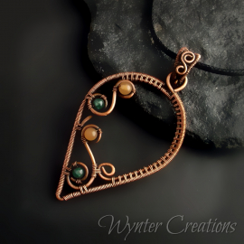 Copper leaf wire wrap pendant with yellow and green stones