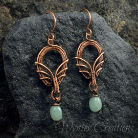 copper wire weave earrings with aventurine