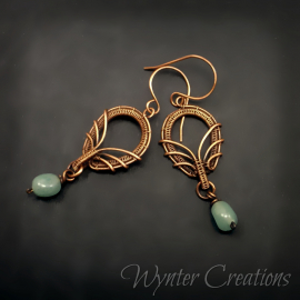 wire work earrings with green gemstone