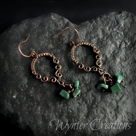copper earrings with green gemstone