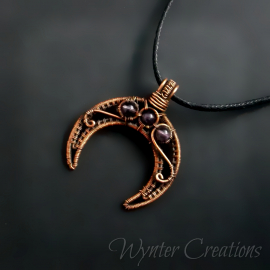 Copper moon pendant with amethyst