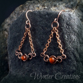 copper earrings with orange agate