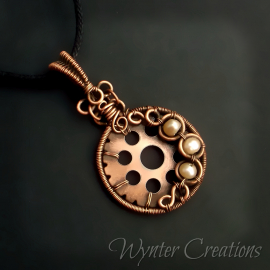 Victorian-inspired pearl and gear pendant