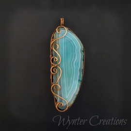 Aqua agate slice pendant with copper spirals