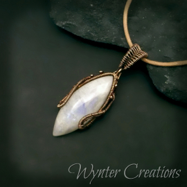 moonstone and copper wire wrapped pendant