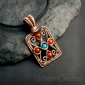 red agate and blue quartz filigree pendant