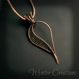 Leaf copper wire wrap pendant