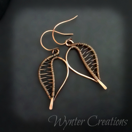 copper leaf wirewrap earrings