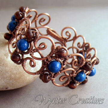 Cecily Bracelet with Blue River Stone and Wood