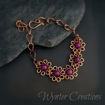Daisy, Daisy Purple River Stone and Copper Floral Wire Wrap Bracelet