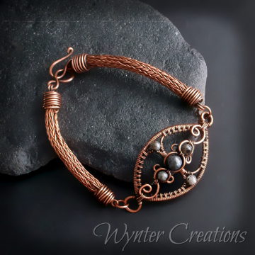Gray Lady Copper and Labradorite Viking Knit Wire Wrap Bracelet