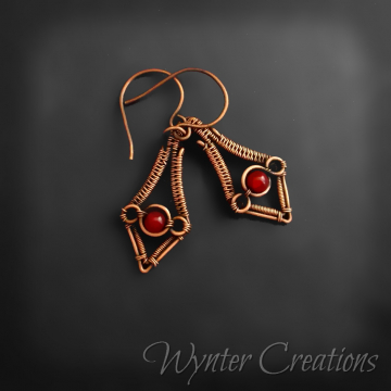 Kasia Red Jade Copper Wire Weave Earrings