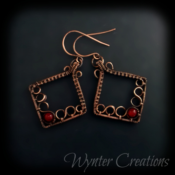 Lisette Red Jade Copper Wire Weave Earrings