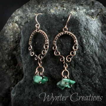 Nerissa African Jade and Copper Wire Wrap Earrings