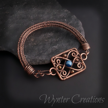 Philippa Agate Filigree and Viking Knit Wire Wrap Bracelet