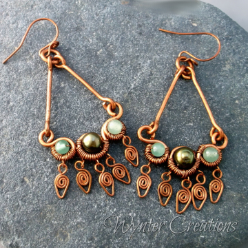 Tory Earrings with Green Aventurine and Pearl