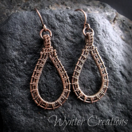 Sunburst pattern wire wrap earrings