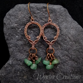 gemstone wire wrap earrings